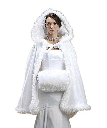 Women's Winter Wraps Cape Shawl Bridal Hooded Cape Short Faux Fur Coat for Wedding (Ivory, one size) (Trim Velvet Coat)