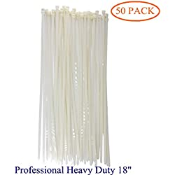 """Long Wide 18 Inch Nylon Zip Cable Ties-Large 120LB Tensile Strength-Heavy Duty Industrial Durable Strong Cable Ties- 50 Pack - Indoor Outdoor Garden Use(18"""" ,120LB, White)"""