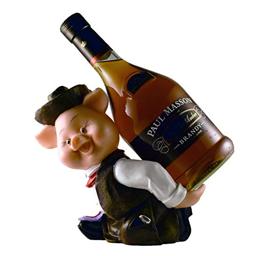 VadiDra Cowboy Pig Figurine Wine and Liquor Bottle Holder   Home and Kitchen Decor for Wine Lovers   Table Top Country Farmer Bar Stand   Fun Pig Countertop Wine Rack Accessories Cowboy Wine Bottle Holder