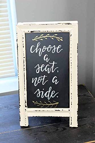 OBI Small Wood A-Frame Double-Sided Chalkboard Sign - Whitewashed Table Top Rustic Foldable Message Board Easel by OBI (Image #4)