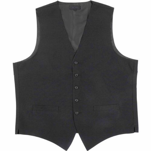 Kyle Thomas Men's Long Length 5 Button Polyester Waiter Vest L Black