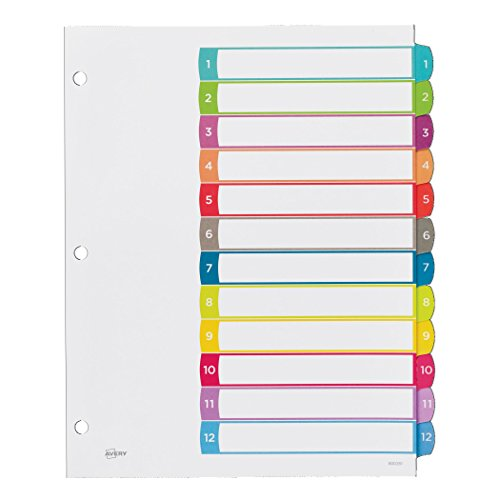 Avery customizable table of contents dividers 12 tab set for 12 tab divider template