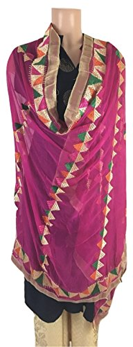 IBC Punjabi Dupatta Phulkari Work Women Scarf Perfect Match for any Dress (Magenta)