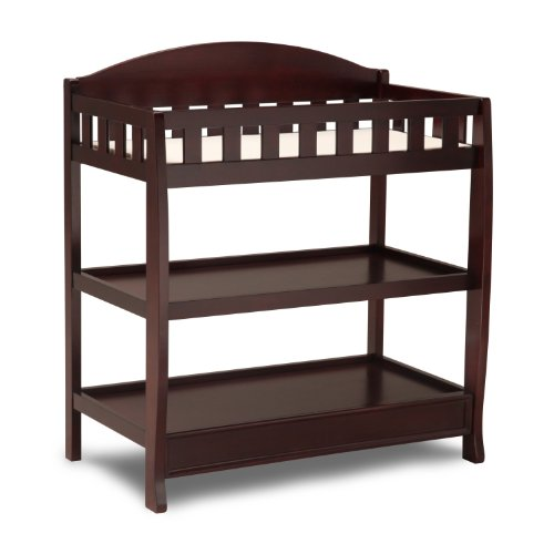 Find Discount Delta Children Infant Changing Table with Pad, Espresso Cherry