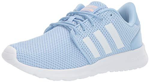 adidas Women's Cloudfoam Qt Racer Running Shoe, Glow Blue/White/Glow Pink, 8 M US