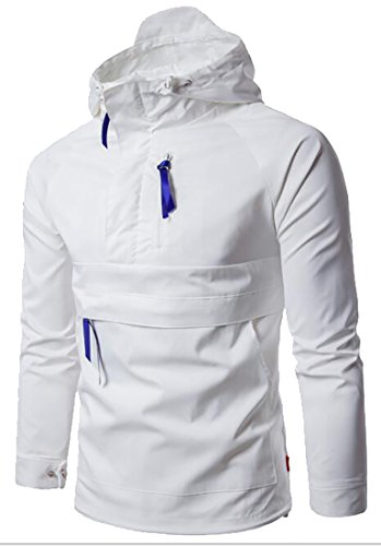 today-UK Men's Stylish Solid Light Weight Pullover Jackets Wind-Resistant Coat White