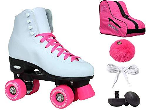 New! Epic Cheerleader White & Pink High-Top Quad Roller Skate 6 Pc. Bundle (08)