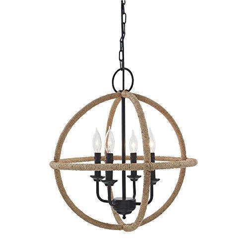 Designs Furniture Allure - Ashley Furniture Signature Design - Madelia Jute Pendant Light - Globe Shape - Farmhouse - Tan