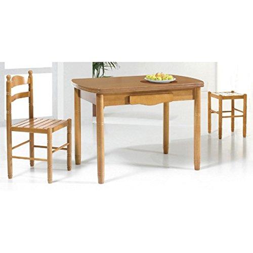 SHIITO Mesa de Cocina Extensible 110 x 70 cm con alas ovaladas y cajon acabada en Madera barnizada. Disponible en Varios Tonos de Madera.