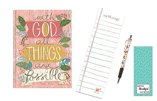 Notepad Possible - All Things Are Possible Journal, Notepad, Pink Ink Pen with Bookmark - Bundle