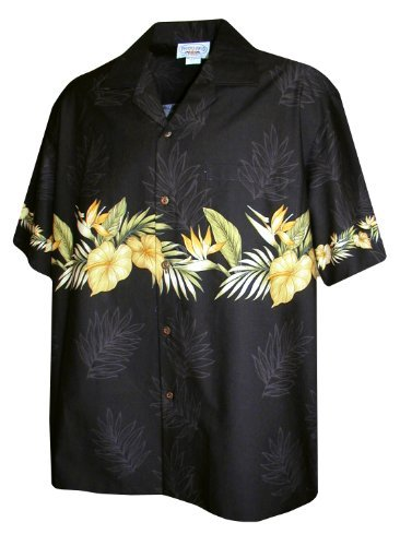 Shirt Panel Camp (Bird of Paradise Golden Antheriums Horizontal Panel Hawaiian Shirts - Mens Hawaiian Shirts - Aloha Shirt - Hawaiian Clothing - 100% Cotton Black 4XL)