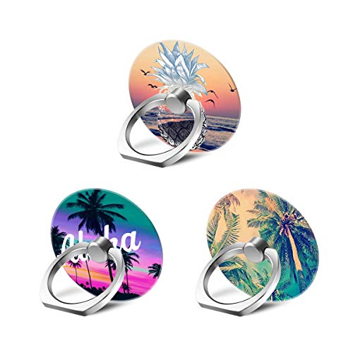 Hawaii Palm Tree Phone Ring Stand Holder Grip Mounts[3 Pack], Universal 360 Rotation Smartphone Finger Ring Grip Stand with for iPhone Samsung LG Moto iPad - Tropical Blends Hawaii