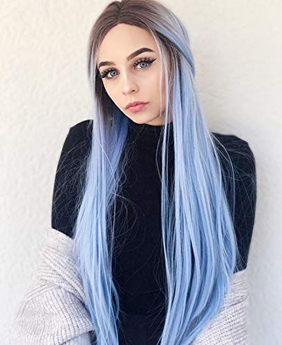 Sapphirewigs Daily Makeup Silk Straight Black Ombre Blue Heat Resistant Hair 150% Denstiy Cosplay Perruque Party Synthetic Lace Front Wigs for Women Present (Senegalese Twist Lace Wig From Wig Parlor)