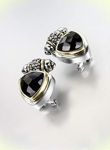 - NEW Designer BALINESE Silver Caviar Dots Black Onyx Crystals Omega Earrings For Women Set
