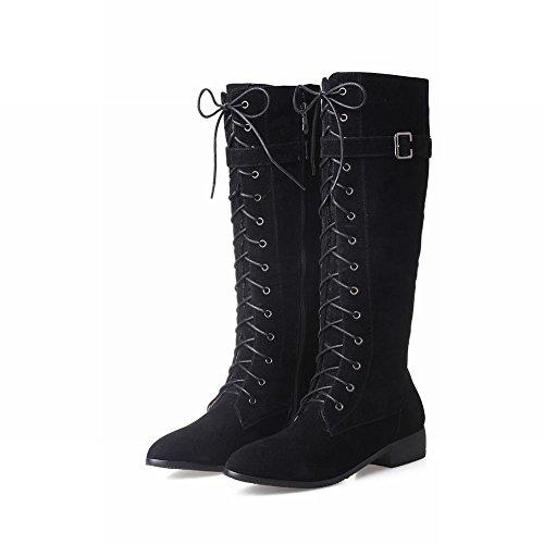 Mee Femmes Lacets Nubuck Bottes Chaussures Des Longues Des Rétro 6dw6AOq
