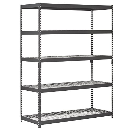 Review Edsal TRK-602478W5 Heavy Duty Steel Shelving In Black 60x24x78 inches By EDSAL by EDSAL