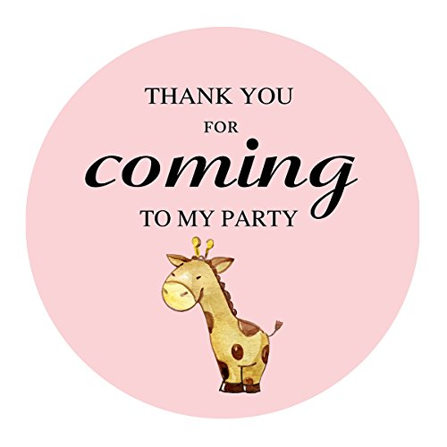 (MAGJUCHE Pink Giraffe Thank You Stickers, Jungle Safari Girl Baby Shower Birthday Party Favors Labels, 2 Inch, 40-Pack)
