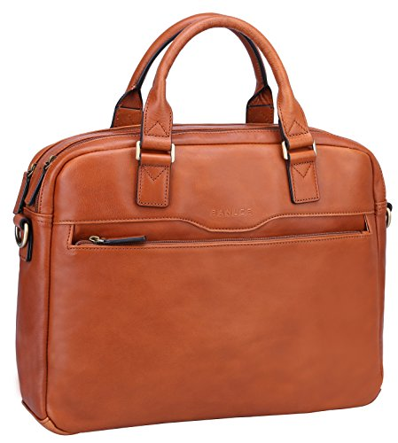 Top Grain Leather Attache Case (Banuce Genuine Leather Front Pocket Slim Tote Briefcase 2 Compartments)