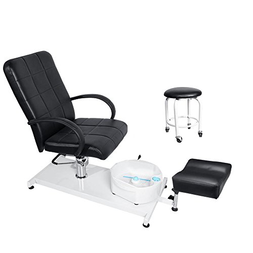 BEAMNOVA Pedicure Chair Spa Adjustable Hydraulic Portable Equipment Black with Water Pump