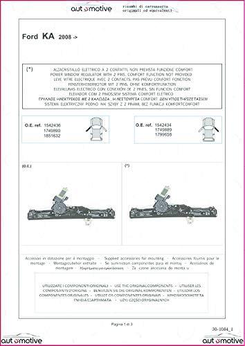 Proposteonline Alzavetro alzacristalli Elettrico Sinistro Compatibile con Ford KA dal 2008 in Poi 01186
