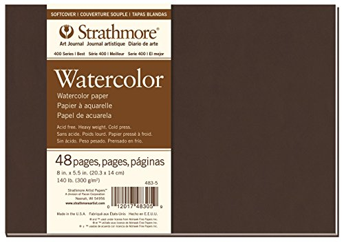 Strathmore 483-5 400 Series Softcover Watercolor Art Journal, 8''x5.5'' 24 Sheets by Strathmore
