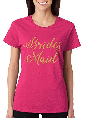 (SpiritForged Apparel Bridesmaid Gold Glitter Women's T-Shirt, Pink Small)