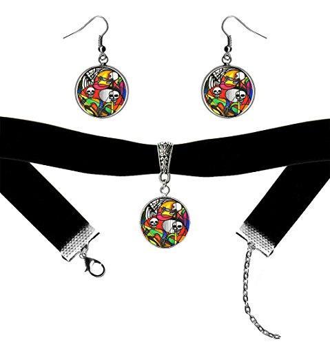 Music Skulls Black Velvet Choker & Silver Hypoallergenic Surgical Steel Earrings Set