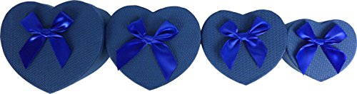 Cypress Lane Hand Made Heart Shaped Gift Boxes with Ribbon, a Nested Set of 4 (Blue)