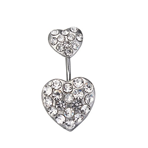 Disco Ball Heart Belly Button Ring White Rhinestone 14G Vcmart