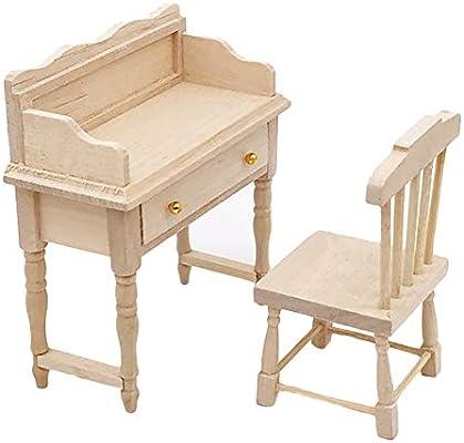 KingbeefLIU 1/12 Muebles De Mesa De Escritorio De Madera Sin ...
