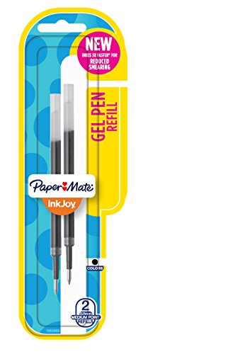 Paper Mate InkJoy Gel Pen Refills, Medium Point, Black, 2 Count