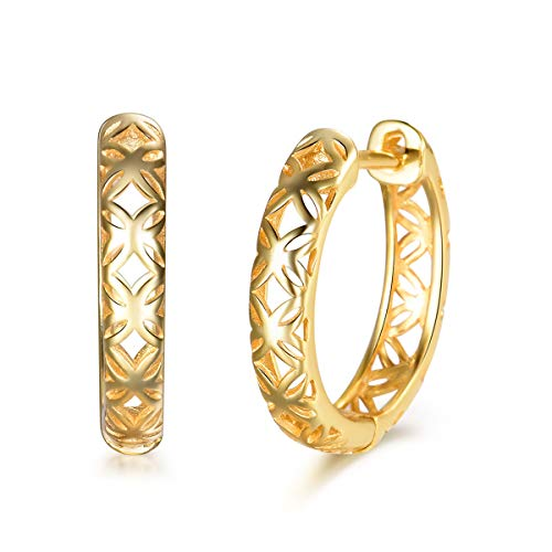 (MASOP 14K Gold Plated 925 Sterling Silver Filigree Hoop Earrings Hypoallergenic Cuff Earrings for Women 18mm, Mother's Day Gift)