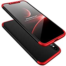 iPhone X Case,WATACHE Ultra Slim Lightweight 3 in 1 Hard PC Matte Surface Non Slip Shockproof Anti-Scratches Full Body Protective Cover with Tempered Glass Screen Protector for Apple iPhone X (Red+Black)