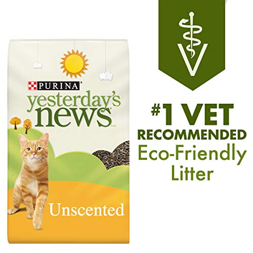 Purina Yesterday's News Non Clumping Paper Cat Litter, Unscented Low Tracking Cat Litter - 30 lb. Bag