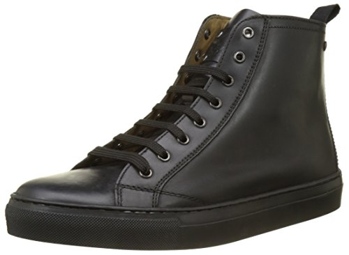 Base London Herren Russell Hohe Sneaker Noir (Black Waxy)