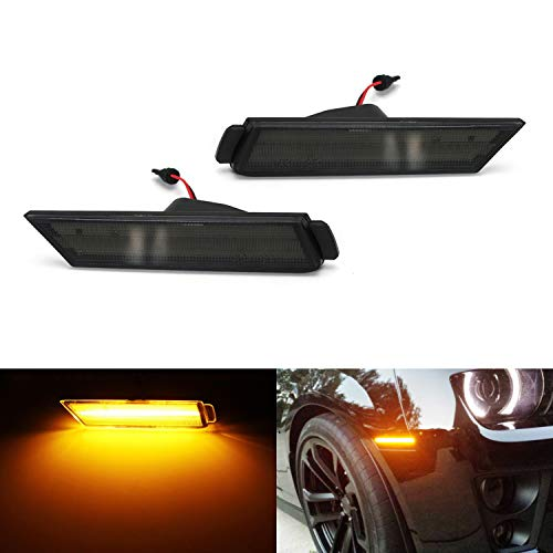 iJDMTOY Smoked Lens Amber Full LED Front Side Marker Light Kit For 2010-15 Chevy Camaro, Powered by 26-SMD LED, Replace OEM Sidemarker Lamps