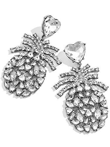 - BEST LADY Cute Fruit Animals Drop Earrings - Statement Colorful Shining Crystal Dangle Earrings for Women Summer Holiday Jewelry (Pineapple)