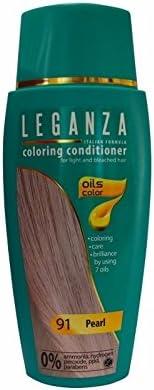 Leganza - Tinte para el cabello sin amoniaco, color perla N91 7 aceites naturales.