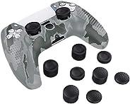 MoKo Funda para controlador de PS5, funda de silicona con 8 tapas de agarre para el pulgar, absorción de golpe