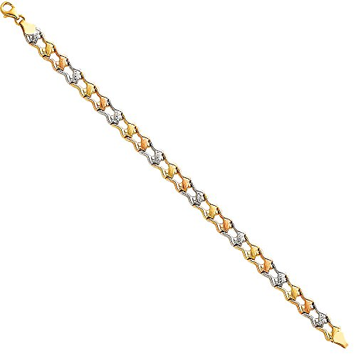 """14k Tri Color Gold Diamond Cut Stampato Bracelet with Lobster Claw Clasp - 7.25"""""""