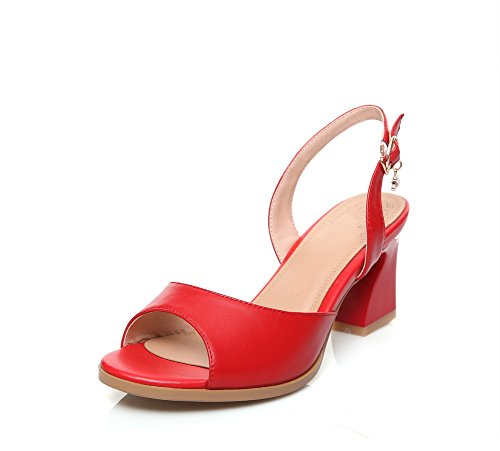 AdeeSu Womens Fashion Chunky Heels Solid Leather Sandals SDC04917 Red
