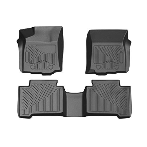 COOLSHARK Toyota Tacoma Floor Mats, Waterproof Floor Liners Custom Fit for 2016-2017 Toyota Tacoma Double Cab - Automatic Transmission Type ONLY,1st and 2nd Row Included-All Weather - Tacoma Weather Mats All