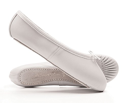 White Leather Wide Fit Full Sole Ballet Shoes All Sizes By Katz Dancewear YUSzLt