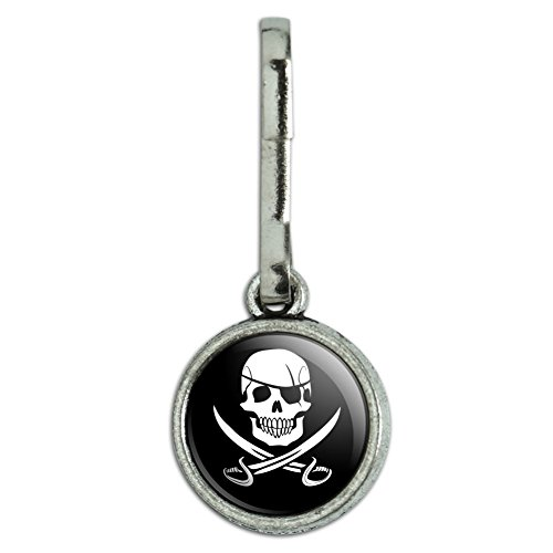 GRAPHICS & MORE Pirate Skull Crossed Swords Jolly Roger Antiqued Charm Clothes Purse Suitcase Backpack Zipper Pull Aid