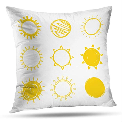 (Geericy Sunshine Art Decorative Throw Pillow Covers, Sun Drawn White Collection Sun Poster and Wallpaper Creative Cushion Cover 18X18 Inch for Bedroom Sofa )
