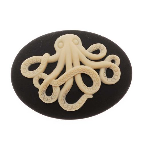 ack With Beige Octopus 40X30mm (1 Piece) (Lucite Cameo Bead)