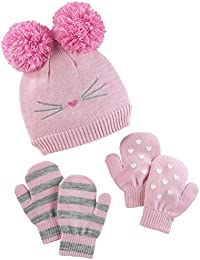 Baby and Toddler Girls  Hat and Mitten Set fbe0fc1cbc37