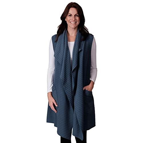 (Le Moda Womens Pocketed Open Front Fleece Vest Cardigan (ONE SIZE),)