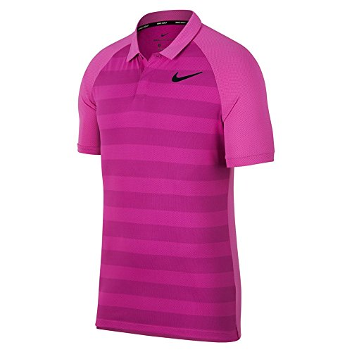 Nike Zonal Cooling Stripe STD Golf Polo 2018 Hyper Magenta Light Carbon  Black Small 60f826f83