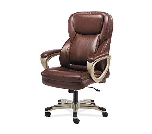 Premium Sadie Executive Computer Chair- Fixed Arms for Office Desk, Brown Leather